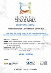 Palestra sobre Planejamento de Comunicação para ONGs no dia 6 de abril na Associação Comercial do Paraná