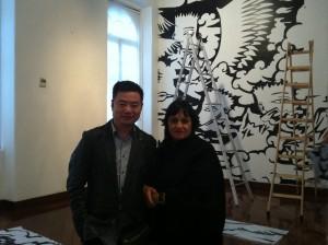 artista Wang Cheg Yun e curadora Tereza Arruda